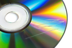 Scratched cd or dvd close up Royalty Free Stock Images