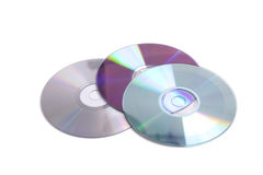 Scratched cd's. Three cd's in different colors Stock Photo