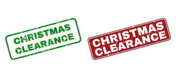 Scratched CHRISTMAS CLEARANCE Stamps with Rounded Rectangle Frames vector illustration
