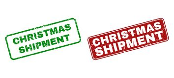 Scratched CHRISTMAS SHIPMENT Rubber Stamps with Rounded Rectangle Frames royalty free illustration