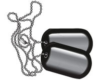 Scratched Dog Tags with Chain. Dog tags on white background with scratched metal surface Stock Photo