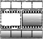 Scratched film. Vector set of scratched film frame samples Stock Photo