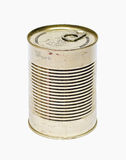 Scratched food can. A little rusty conserve can Royalty Free Stock Photos