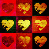 Scratched grunge valentine hearts Royalty Free Stock Image