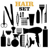 Scratched hair styling related silhouettes set Royalty Free Stock Images