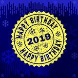 Scratched HAPPY BIRTHDAY Stamp Seal on Winter Background vector illustration