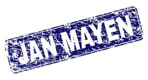 Scratched JAN MAYEN Framed Rounded Rectangle Stamp. JAN MAYEN stamp seal print with grunge texture. Seal shape is a rounded rectangle with frame. Blue vector stock illustration