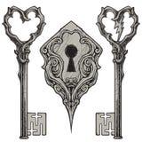 Scratched Keys & Keyhole Royalty Free Stock Photos