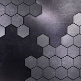 Scratched metal background with hexagon shapes Royalty Free Stock Images