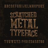 Scratched metal typeface. Retro alphabet font. Metallic letters and numbers on a dark rough background. Stock Photography
