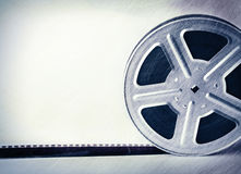 Scratched motion picture film reel Stock Photos