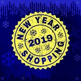 Scratched NEW YEAR SHOPPING Stamp Seal on Winter Background stock illustration
