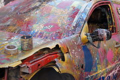 Scratched paint car Stock Images