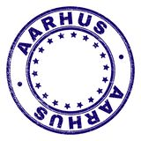 Scratched Textured AARHUS Round Stamp Seal. AARHUS stamp seal imprint with distress texture. Designed with round shapes and stars. Blue vector rubber print of vector illustration
