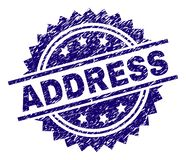 Scratched Textured ADDRESS Stamp Seal. ADDRESS stamp seal watermark with distress style. Blue vector rubber print of ADDRESS caption with dust texture royalty free illustration
