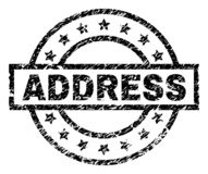 Scratched Textured ADDRESS Stamp Seal. ADDRESS stamp seal watermark with distress style. Designed with rectangle, circles and stars. Black vector rubber print of stock illustration