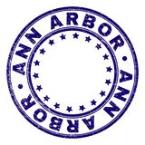 Scratched Textured ANN ARBOR Round Stamp Seal. ANN ARBOR stamp seal imprint with distress texture. Designed with circles and stars. Blue vector rubber print of royalty free illustration