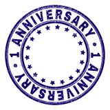 Scratched Textured 1 ANNIVERSARY Round Stamp Seal. 1 ANNIVERSARY stamp seal imprint with grunge texture. Designed with circles and stars. Blue vector rubber royalty free illustration