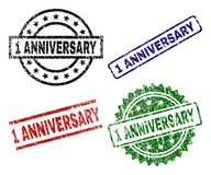 Scratched Textured 1 ANNIVERSARY Seal Stamps. 1 ANNIVERSARY seal prints with distress style. Black, green,red,blue vector rubber prints of 1 ANNIVERSARY caption Royalty Free Illustration