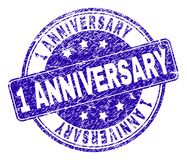 Scratched Textured 1 ANNIVERSARY Stamp Seal. 1 ANNIVERSARY stamp seal watermark with distress style. Designed with rounded rectangle and circles. Blue vector royalty free illustration