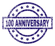 Scratched Textured 100 ANNIVERSARY Stamp Seal. 100 ANNIVERSARY stamp seal watermark with grunge style. Designed with rectangle, circles and stars. Blue vector royalty free illustration
