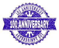 Scratched Textured 100 ANNIVERSARY Stamp Seal with Ribbon. 100 ANNIVERSARY rosette stamp imprint with distress style. Designed with round rosette, ribbon and stock illustration