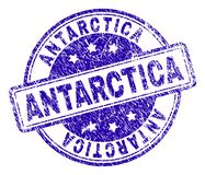 Scratched Textured ANTARCTICA Stamp Seal. ANTARCTICA stamp seal watermark with distress texture. Designed with rounded rectangles and circles. Blue vector rubber stock illustration