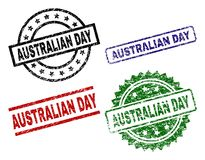 Scratched Textured AUSTRALIAN DAY Stamp Seals. AUSTRALIAN DAY seal prints with damaged surface. Black, green,red,blue vector rubber prints of AUSTRALIAN DAY text royalty free illustration