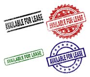 Scratched Textured AVAILABLE FOR LEASE Seal Stamps. AVAILABLE FOR LEASE seal prints with corroded texture. Black, green,red,blue vector rubber prints of vector illustration