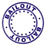 Scratched Textured BAILOUT Round Stamp Seal. BAILOUT stamp seal imprint with distress texture. Designed with circles and stars. Blue vector rubber print of stock illustration