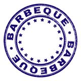 Scratched Textured BARBEQUE Round Stamp Seal. BARBEQUE stamp seal watermark with grunge texture. Designed with circles and stars. Blue vector rubber print of vector illustration