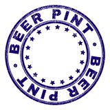 Scratched Textured BEER PINT Round Stamp Seal vector illustration