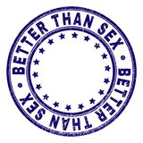 Scratched Textured BETTER THAN SEX Round Stamp Seal. BETTER THAN SEX stamp seal watermark with grunge texture. Designed with round shapes and stars. Blue vector vector illustration