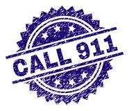 Scratched Textured CALL 911 Stamp Seal. CALL 911 stamp seal watermark with distress style. Blue vector rubber print of CALL 911 tag with grunge texture vector illustration