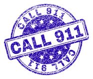 Scratched Textured CALL 911 Stamp Seal. CALL 911 stamp seal watermark with distress texture. Designed with rounded rectangles and circles. Blue vector rubber Stock Illustration