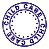 Scratched Textured CHILD CARE Round Stamp Seal. CHILD CARE stamp seal imprint with grunge texture. Designed with round shapes and stars. Blue vector rubber print vector illustration