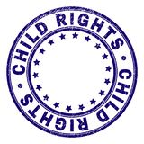Scratched Textured CHILD RIGHTS Round Stamp Seal. CHILD RIGHTS stamp seal imprint with grunge texture. Designed with circles and stars. Blue vector rubber print vector illustration