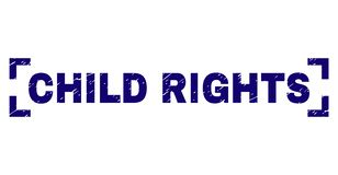 Scratched Textured CHILD RIGHTS Stamp Seal Inside Corners. CHILD RIGHTS label seal print with distress texture. Text label is placed between corners. Blue vector vector illustration