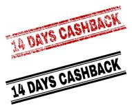 Scratched Textured and Clean 14 DAYS CASHBACK Stamp Prints. 14 DAYS CASHBACK stamp seal print with red grunge and clean black version. Red rubber print of 14 stock illustration