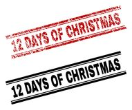 Scratched Textured and Clean 12 DAYS OF CHRISTMAS Stamp Prints. 12 DAYS OF CHRISTMAS stamp seal print with red grunge and clean black version. Red vector rubber Vector Illustration