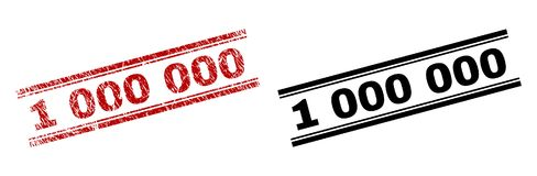 Scratched Textured and Clean 1 000 000 Stamp Prints. 1 000 000 stamp seal print with red grunge and clean black version. Red vector rubber print of 1 000 000 stock illustration