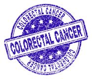 Scratched Textured COLORECTAL CANCER Stamp Seal. COLORECTAL CANCER stamp seal imprint with distress texture. Designed with rounded rectangles and circles. Blue royalty free illustration