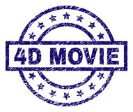 Scratched Textured 4D MOVIE Stamp Seal. 4D MOVIE stamp seal watermark with grunge texture. Designed with rectangle, circles and stars. Blue rubber print of 4D stock illustration