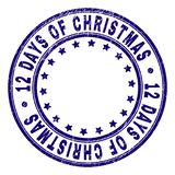 Scratched Textured 12 DAYS OF CHRISTMAS Round Stamp Seal. 12 DAYS OF CHRISTMAS stamp seal imprint with grunge texture. Designed with round shapes and stars. Blue royalty free illustration