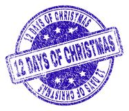 Scratched Textured 12 DAYS OF CHRISTMAS Stamp Seal. 12 DAYS OF CHRISTMAS stamp seal imprint with distress texture. Designed with rounded rectangles and circles Royalty Free Illustration