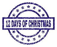 Scratched Textured 12 DAYS OF CHRISTMAS Stamp Seal. 12 DAYS OF CHRISTMAS stamp seal watermark with distress texture. Designed with rectangle, circles and stars Stock Illustration