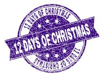 Scratched Textured 12 DAYS OF CHRISTMAS Stamp Seal. 12 DAYS OF CHRISTMAS stamp seal watermark with grunge texture. Designed with ribbon and circles. Violet vector illustration