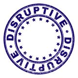 Scratched Textured DISRUPTIVE Round Stamp Seal. DISRUPTIVE stamp seal imprint with distress texture. Designed with circles and stars. Blue vector rubber print of vector illustration