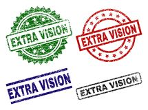 Scratched Textured EXTRA VISION Stamp Seals. EXTRA VISION seal prints with damaged style. Black, green,red,blue vector rubber prints of EXTRA VISION caption with royalty free illustration