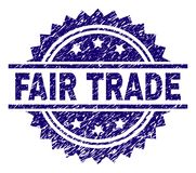 Scratched Textured FAIR TRADE Stamp Seal. FAIR TRADE stamp seal watermark with distress style. Blue vector rubber print of FAIR TRADE tag with corroded texture vector illustration